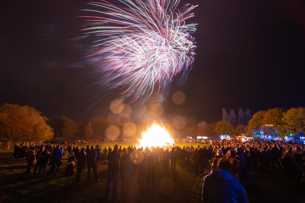 Fireworks display at bonfire night. Guy Fawkes night.