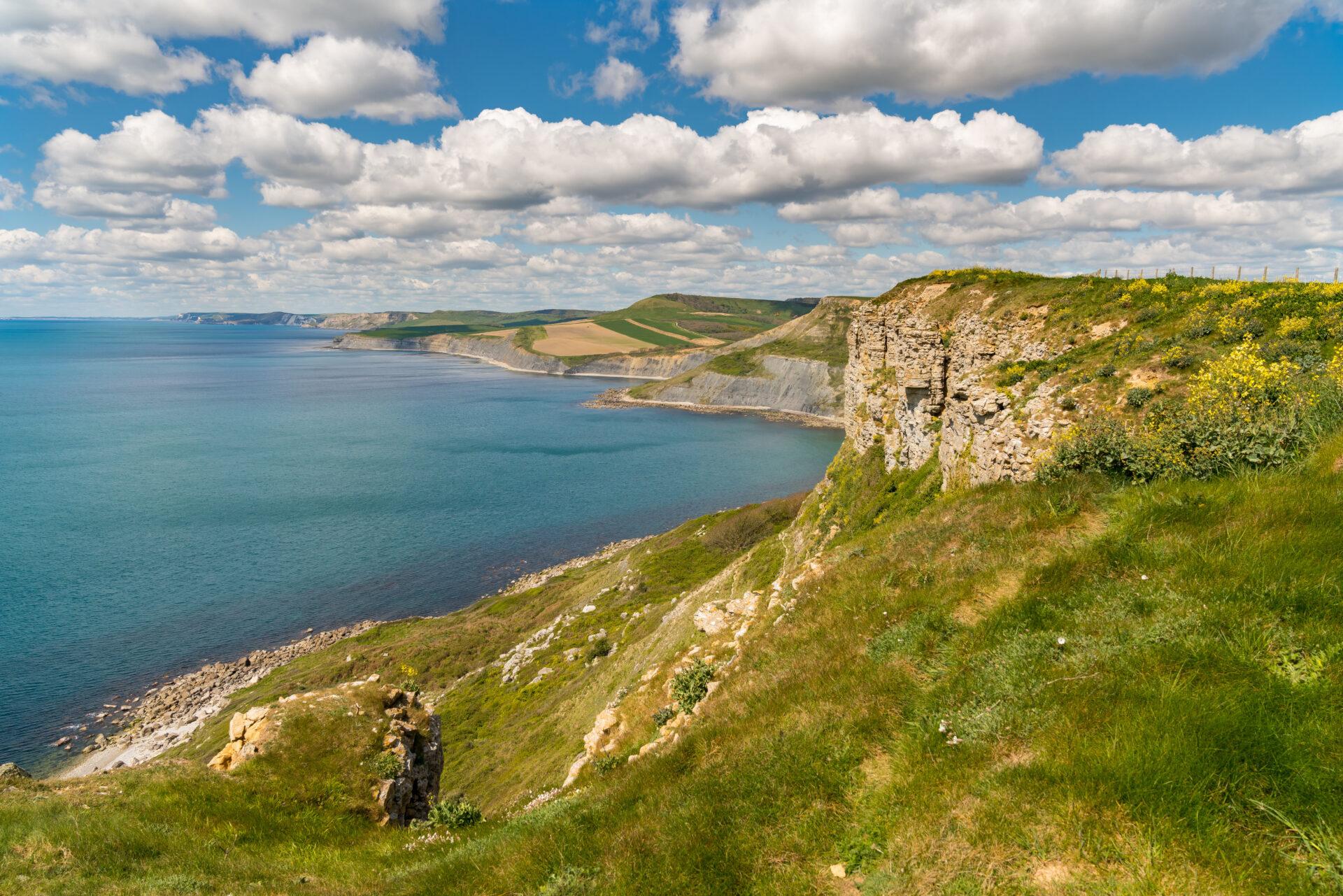 South West Coast Path with a view over the Jurassic Coast and Emmett's Hill, near Worth Matravers, Jurassic Coast, Dorset, UK